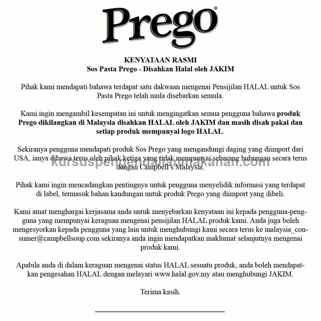 spaghetti babi - kenyataan rasmi prego Malaysia
