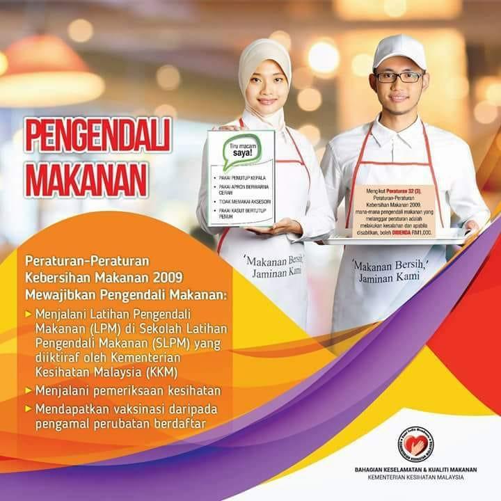 Poster hebahan Kursus Pengendalian Makanan oleh Kementerian Kesihatan Malaysia